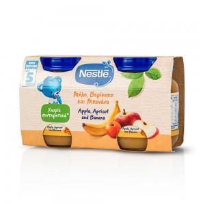 Nestle Παιδική Τροφή, Βρεφικός Πολτός Με Μήλο, Βερίκοκο & Μπανάνα από 5 Μηνών, 2 x 125ml