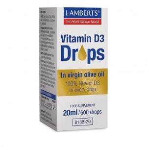 Lamberts Vitamin D3 Drops Συμπλήρωμα Διατροφής σε Παρθένο Ελαιόλαδο 20ml / 600drops