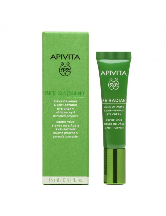 Apivita Bee Radiant Eye Cream with Peony Κρέμα Ματιών για Σημάδια Γήρανσης & Ξεκούραστη Όψη με Λευκή Παιώνια 15ml