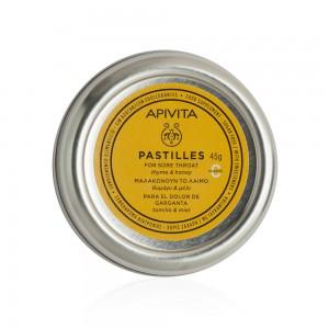 Apivita Pastilles Παστίλιες για τον πονεμένο λαιμό και το βήχα με θυμαρι & μελι 45 g