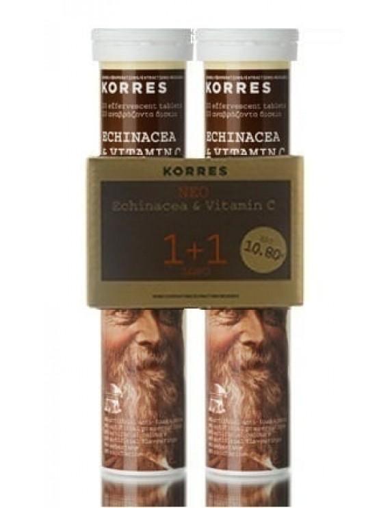 Korres Echinacea & Vitamin C Συμπλήρωμα με Εχινάκεα & Βιταμίνη C (1+1 ΔΩΡΟ), 2 x 18 αναβράζοντα δισκία