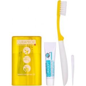 Curaprox TS 261 Travel Set Ιδανικό Σετ για Ταξίδια με Οδοντόβουρτσα CUREN® Super Soft , 1 τεμάχιο, Οδοντόκρεμα CURASEPT ADS® 705, 5 ml & Oδοντογλυφίδα TP 945, 1 τεμάχιο