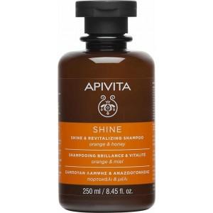 APIVITA SHINE Σαμπουαν Λαμψης & Αναζωογονηςης με Πορτοκαλι Και μελι 250ml
