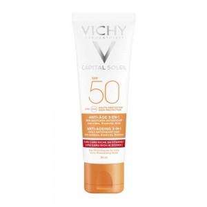 Vichy Capital Soleil Anti-Ageing 3 in 1 SPF50, Αντηλιακή Προσώπου κατά των Ρυτίδων 50ml