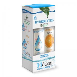 Power Of Nature 1+1 Δώρο με Hydrolytes Συνδυασμός Ηλεκτρολυτών, 20eff.tabs & Vitamin C 500mg, 20eff.tabs