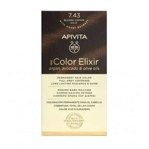 Apivita My Color Elixir Νο 7.43 Βαφή Μαλλιών Ξανθό Χάλκινο Μελί με Έλαια Άργκαν, Αβοκάντο & Ελιάς, 1τεμ