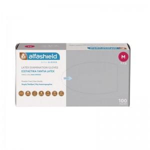 ALFASHIELD Latex Gloves Γάντια Latex μίας Χρήσης Χωρίς Πούδρα Medium 100 Τεμάχια
