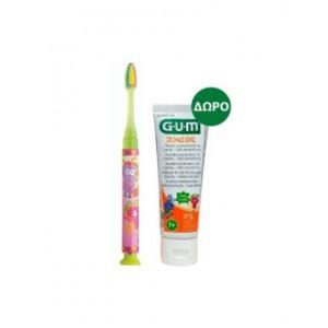 GUM PROMO Junior Light Up Soft Ροζ Οδοντόβουρτσα Με Φωτάκι [903] - Junior Οδοντόκρεμα 7+ Ετών Tutti Frutti 50ml