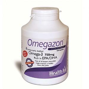 Health Aid Omegazon 750mg Ω3 Πολυακόρεστα Λιπαρά Οξέα (EPA & DHA), 120caps