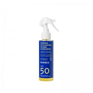 Korres Ginseng & Hyaluronic Splash Sunscreen SPF50 Αντηλιακό Ginseng & Υαλουρονικό με Υψηλή Προστασία για Πρόσωπο & Σώμα, 150ml