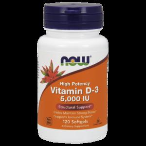 Now Foods Vitamin D3 5000IU Συμπλήρωμα Διατροφής με Βιταμίνη D-3 για την Υγεία Οστών & Ενίσχυση Ανοσοποιητικού, 120 softgels