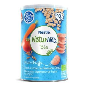 Nestle Naturnes Bio NutriPuffs Μπουκίτσες Δημητριακών με Τομάτα και Καρότο 10m+, 35g