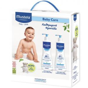 Mustela Baby Care Pack ΠΑΚΕΤΟ με Gentle Cleansing Gel Τζελ Καθαρισμού για Μαλλιά & Σώμα, 500ml & Bebe Lait Corps Ενυδατικό Γαλάκτωμα , 500ml & ΔΩΡΟ το Αρκουδάκι, 1 τεμάχιο