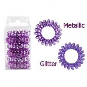 Dessata Hair Ties Purple Metal Λαστιχάκια Μαλλιών 6 Τεμάχια