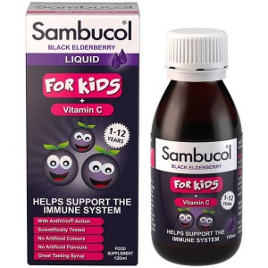 Sambucol Black Elderberry For Kids + Vitamin C Παιδικό Σιρόπι για την Ενίσχυση του Ανοσοποιητικού 120ml