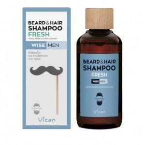 Vican Wise Men Beard & Hair Shampoo Fresh Σαμπουάν για τα μαλλια και τη γενειάδα του άνδρα, 200ml