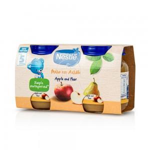 Nestle Παιδική Τροφή Με Μήλο & Αχλάδι 5m+, 2 x 125ml