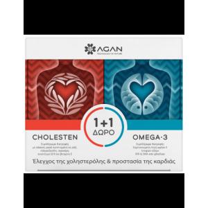 Agan Cholesten Για τον Έλεγχο της Χοληστερόλης, 30 vcaps & ΔΩΡΟ Omega-3 1000 για την Προστασία της Καρδίας, 30softgels