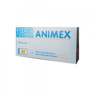 Animex Latex Examination Gloves Powder Free White  100pcs (Λευκά Γάντια Λάτεξ Χωρίς Πούδρα  100τεμ)