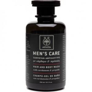 Apivita Men's Care Σαμπουαν  - Αφρόλουτρο με Καρδαμο και Προπολη 250 ml