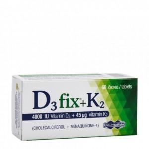 Uni-Pharma D3 Fix + Κ2 (4000 IU Vitamin D3 +45μg Vitamin K2) 60tabs