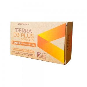 Genecom Terra D3 Plus 2000 IU Softgels Συμπλήρωμα Διατροφής με D3, 60 Softgels