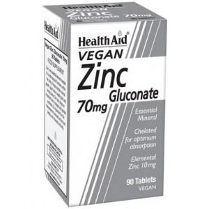HEALTH AID Zinc Gluconate 70mg (10mg elemental Zinc) tablets 90's