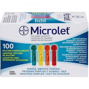 Ascensia Microlet x 100 Lancets  βελόνες για το Σύστημα Παρακολούθησης Γλυκόζης Αίματος CONTOUR της Bayer.