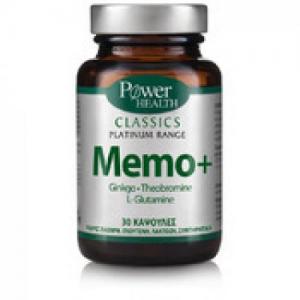 Power Health Classics Platinum MEMO+, Ginkgo, L-Glutamine &Theobromine,για την βελτίωση της μνήμης, της συγκέντρωσης. Κατάλληλο για ηλικές άνω των 50 ετών 30 caps