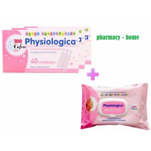 Physiologica Προσφορά Φυσιολογικός Ορός για βρέφη 40x3 amp 5ml μαζι με physiologica μωρομάντηλα
