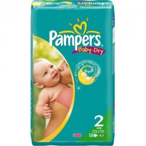 PAMPERS BABY DRY MIΝI No 2 (3-6 KG) ΣΥΣΚΕΥΑΣΙΑ 58ΤΕΜΑΧΙΩΝ