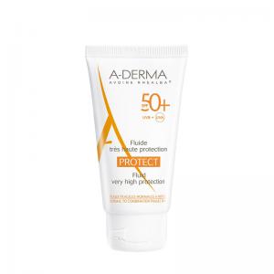 A - Derma Protect Fluide Tres Haute Protection SPF50+ Αντηλιακή Κρέμα Προσώπου Πολύ Υψηλής Προστασίας για Κανονικές, Μικτές & Εύθραυστες Επιδερμίδες, 40ml