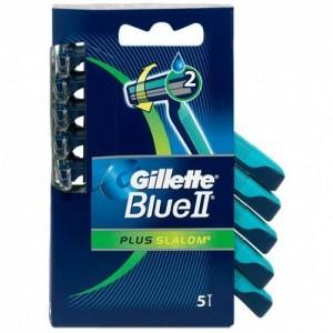 Gillette Blue II Plus Slalom, με 2 λεπίδες και ταινία από Aloe για προστασία του δέρματος από τους ερεθισμούς, 5τμχ