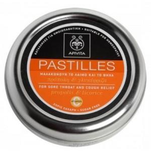 Apivita Pastilles & Παστίλιες για τον πονεμένο λαιμό και το βήχα με γλυκοριζα & προπολη 45 g