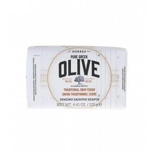 Korres Pure Greek Olive Tradional Soap Cedar Παραδοσιακό Πράσινο Σαπούνι με Άρωμα Κέδρου, 125gr