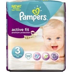 Pampers Active Fit 3 Midi 4-9kg, Παιδικές πάνες 4-9kg 26 τεμάχια
