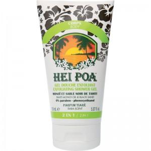 HEI POA Exfoliating Shower Gel Monoi, Peeling Σώματος από Κόκκους Μαύρης Άμμου, Παπάγια, Καρύδα & Tamanu (150ml)