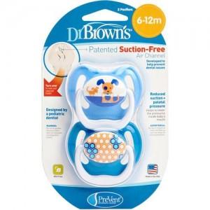 Dr.Brown's PreVent 240 Ορθοδοντική Πιπίλα Σιλικόνης για βρέφη 6-12 μηνών, Ειδικά σχεδιασμένη για την σωστή στοματική ανάπτυξη του μωρού,2τεμ