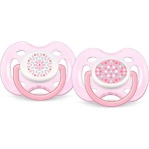 Avent Πιπίλα Σιλικόνης Freeflow 0-6 μηνών 2τεμ Ρόζ πουα/Ρόζ λουλούδι SCF180/23