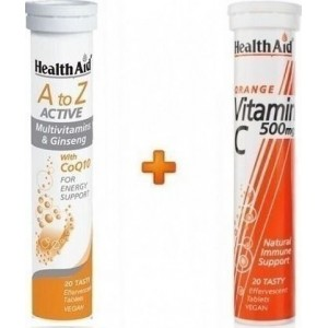 Health Aid A to Z Active 20 αναβράζουσες ταμπλέτες + Vitamin C 500mg Πορτοκάλι 20 αναβράζουσες ταμπλέτες
