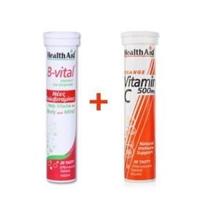 Health aid B - vital 20 αναβράζουσες ταμπλέτες + Vitamin C 500mg Πορτοκάλι 20 αναβράζουσες ταμπλέτες