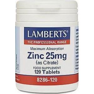 Lamberts Zinc Citrate 25mg Συμπλήρωμα Ψευδάργυρου, 120 tabs
