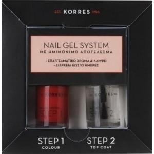 KORRES Nail Gel System Σετ Βερνίκι Νυχιών Classic Red 10ml & Βερνίκι Νυχιών Top Coat 10ml