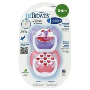 Dr.Brown's PreVent 140 Ορθοδοντική Πιπίλα Σιλικόνης για νεογέννητα 0-6 μηνών, Ειδικά σχεδιασμένη για τη σωστή στοματική ανάπτυξη του βρέφους,2τεμ
