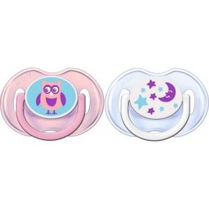 Avent Πιπίλα Σιλικόνης Κλασικές Πιπίλες Σιλικόνης, 0-6 Μηνών, Για Κορίτσι SCF196/18 Συσκευασία των 2 Τεμαχίων