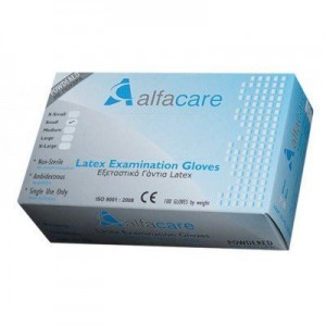 ALFACARE Γάντια Εξεταστικά Latex M Με Πούδρα AC-3360 (1X100)