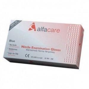 Alfacare Nitrile Examination Gloves, Εξεταστικά Γάντια Νιτριλίου ΜέγεθοςMedium Blue 100τμχ.