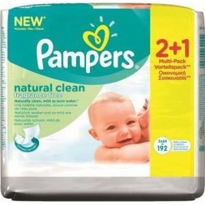 Pampers Μωρομάντηλα Baby Wipes Natural Clean Χωρίς Άρωμα Οικονομική Συσκευασία 2+1 Δώρο (192τμχ)