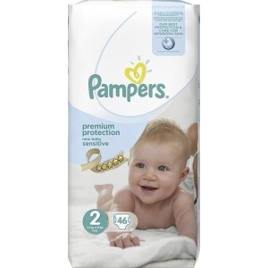 Pampers New Baby Βρεφικές Πάνες Sensitive No 2 (3-6kg) 46Τμχ