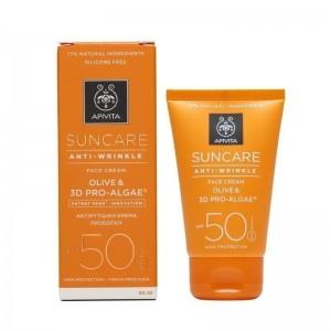 Apivita Suncare Anti-Wrinkle SPF50 Αντιρυτιδική Αντιηλιακή Κρέμα Προσώπου με Ελιά & 3D Pro - Alage, 50ml